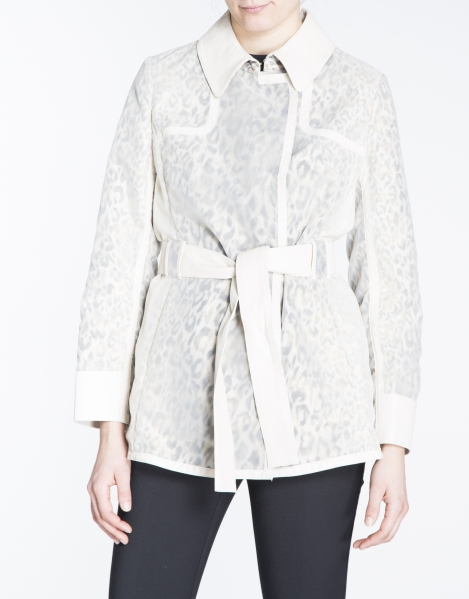 Spring Coat trench en tejido combinado print animal RV