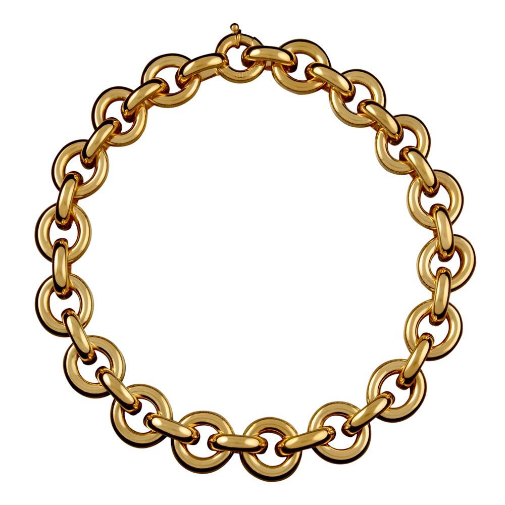 Collar eslabones  plata de ley recubierto de oro amarillo de 18 kts, ARISTOCRAZY